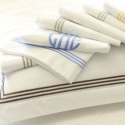 Grand Embroidered Extra Pillowcases, Set of 2, King, Honeycomb - Our crisp white linens lend perfectly tailored style with a triple border of contrast embroidery. Pure cotton percale. 280-thread count. Edged with a triple row of satin-stitched embroidery. Set includes flat sheet, fitted sheet and two pillowcases (one with twin). Monogramming is available at an additional charge. Monogram will be centered along the border of the pillowcase and the flat sheet. Machine wash. Catalog / Internet only. Imported.