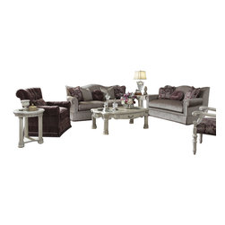 """AICO Furniture - """"Michael Amini"""" Monte Carlo II 3PC Living Room Set in Silver Pearl - Monte Carlo II draws its inspiration from its namesake city that sits on the majestic Mediterranean Sea."""