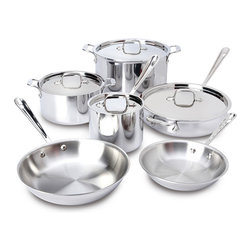 "All-Clad Stainless Steel 10 Piece Cookware Set - The All-Clad Stainless Steel 10-Piece Cookware Set provides the pieces essential for day-to-day cooking. For browning and searing a range of foods use the fry pan or saute pan. The small surface area and high straight sides of the saucepans are ideal for making sauces boiling or reheating. For stocks or large meals the stockpot has a wide bottom surface and generous size. The three-ply construction is both durable and stick resistant and the aluminum core ensures rapid and even heating. Set includes 8"" fry pan 10"" fry pan 2 qt. saucepan 3 qt. casserole 3 qt. saute pan 8 qt. stockpot 4 lids"