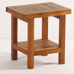 Aqua Teak - Teak Spa Stool With Shelf (Small) - Choose Size: SmallA solid teak stool with an additional shelf. Stool is appropriate for use in the shower, bathroom, deck, or patio. Classic modernistic style fits in both modern or traditional decors. Provides both functional and esthetic features to your decor. Weight capacity: 250 lbs.. Dimensions: 17 in. L x 12.75 in. W x 18 in. H (19 lbs.)Teak wood has a life expectancy of 75 years if left untreated due to its natural rubber content that naturally resists moisture. This makes teak products ideal for indoor and outdoor use. No other wood compares to Teak when it comes to durability, elegance, stability and low maintenance. Aqua Teak only uses wood from government owned plantations that practice sustained harvesting. This means that harvesting is controlled to be no more than the rate of reforestation in any given year.
