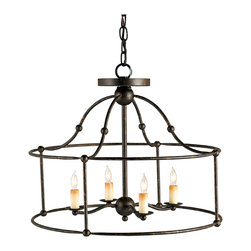 Kathy Kuo Home - Open Frame Industrial 4 Light Ceiling Mount Pendant - The charm of this piece is all about the play of negative space and artful metal work. Four candle bulbs, framed in a circle of black wrought iron, topped with a bell shaped crown are what make this piece so delightful.  Traditional yet eclectic, the play of light and space is alluring and stylish.