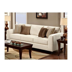 """Chelsea Home - Contemporary Camden Sofa - Includes four throw pillows. Coffee table not included. Polyester upholstery in butler oyster. Two throw pillows in frazzle twilight and others in noble mocha cover. Seating comfort: Medium. Hardwood frames nailed together for strength and durability. Attached back cushion. 1.8 density foam in cushions. Dacron wrapped and fully reversible cushions. Made in U.S.A. No assembly required. 94 in. L x 37 in. W x 34 in. H (140 lbs.)The motto of Verona VI is """"Where Style Meets Value"""". We understand the importance of the distinct, yet separate elements that the consumer as well as the retailer expects from today's manufacturers. It is our purpose driven desire to meet these expectations while forming friendships that will last for generations to come. We would love to have you as a part of our family as we strive to excel in our style, value and service. The stress points are reinforced with blocks to secure long lasting frame."""
