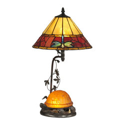 Dale Tiffany - Dale Tiffany TT12472 Amber Turtle Modern / Contemporary Table Lamp - Louis Comfort Tiffany was well known for his love of nature. This delightful table lamp incorporates much of Tiffany's beloved nature into a multi-function light fixture. The cone shaped shade features a background of sunny amber art glass panels. A wide border of vivid red and amber glass, set in a stone-like pattern runs around each shades bottom edge. Inverted iridescent blue-green dragonflies are spaced throughout, providing a lovely contrast. Smaller bands of red and amber panels border the larger band on the top and bottom. A cheerful little turtle rendered in amber and green sits on the base of the lamp and does double duty as a functional night light. The metal base and arm feature a cut metal vine of leaves, all finished in antique bronze. A great choice on a night table, this also makes a unique desk lamp that you will be proud to pass from one generation to the next.