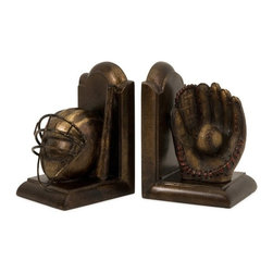 "IMAX CORPORATION - Baseball Bookends - Set of 2 - Old Fashioned, antique look baseball themed set of two bookends. Features a baseball helmet, mitt and ball. Set of 2 in various sizes measuring around 18.5""L x 12.75""W x 17.75""H each. Shop home furnishings, decor, and accessories from Posh Urban Furnishings. Beautiful, stylish furniture and decor that will brighten your home instantly. Shop modern, traditional, vintage, and world designs."