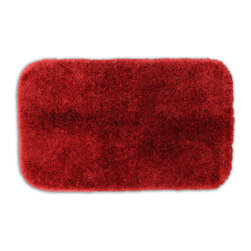 None - Posh Plush Garnet Washable Bath Rug - Revel in spa-like luxury every time you step into the bath with the Posh Plush collection of bath rugs. The amazingly soft, yet durable, nylon plush is machine washable, and this red floor piece has a non-skid latex backing for safety.