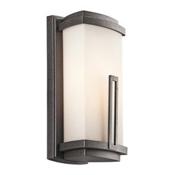 "Kichler Lighting - Kichler Lighting 12.5"" Fluorescent Outdoor Wall Lantern, Anvil Iron... - Kichler Lighting 12.5"" Fluorescent Outdoor Wall Lantern, Anvil Iron w/Satin-Etched Cased Opal Glass The Kichler Lighting 49110AVI FL Leeds Light Fluorescent Outdoor Wall Lantern creates a soft contemporary feel that is a striking statement for any home. It features a cased opal glass rectangular shade with a distinctive rectangular accent. Whether you are looking for that perfect outdoor wall lantern for your outdoor living space, deck or patio; the sleek anvil iron finish makes this fixture the perfect choice for anyone looking to bring a casual contemporary feel to their home. The light outdoor wall lantern measures 12-1/2-Inch high, 6-Inch wide, has an extension of 5-Inch, and rises 6-1/4-Inch from the center of the wall opening. The 49110 FL is constructed out of cast aluminum and uses one GU24, 13W (maximum) bulb. The wall lantern meets Energy Star requirements and complies with the California Title 24 building code standards. Pairing with any of the Leeds family (all sold separately) will surely make a stunning statement. This fixture is sold one per package and is certified and listed to UL/CSA/ETL standards for wet location use in the USA and Canada. Since 1938, Kichler Lighting has offered a distinctive array of lighting solutions that reflect your individual personality, tastes and plans. Kichler brings you an unparalleled variety of exciting style families, unique finishes, fresh colors and unequaled quality. Whether it's casual, contemporary, transitional or traditional, you'll find it with Kichler, lighting that defines your style."
