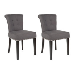 Safavieh - Avant Dining Chair (Set of 2) - The bent back of the Avant dining chair, in charcoal fabric with espresso finish on the legs, gets a classic dressed-up punch thanks to exposed nail heads and cleaver metal ring on its back. Button tufts on the front of the tapered backrest and generous cushions make it a handsome seat.