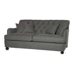 """Kathy Kuo Home - Clarence Rolled Arm English Feather Down Tufted Dark Gray Condo Sofa - 72"""" - By combining the formal, hand stitched craftsmanship of button tufting with the pure pleasure of generously filled cushions, this traditional style sofa creates the perfect balance of tailored style and unabashed comfort. Also sold in a 96 inch length.  (2) x 24 x 24 inch, (2) x 18 x 18 inch feather cloud toss pillows included."""