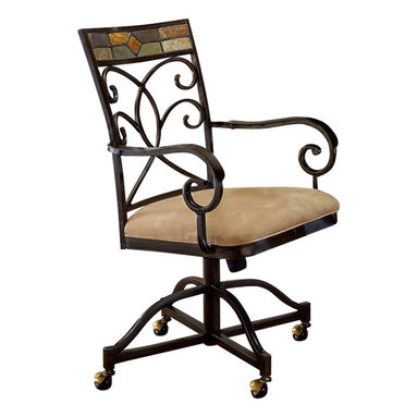 Hillsdale - Hillsdale Pompei Fabric Dining Arm Chair in Black and Gold Finish (Set of 2) - Hillsdale - Dining Chairs - 4442806 - The Pompei Caster Dining Chair uses traditional design elements in a very contemporary way. Highly unique its intricate solid slate top rail creates visual interest. Curvaceous metalwork and scrolled armrests only add to this dining chair's Old World charm.