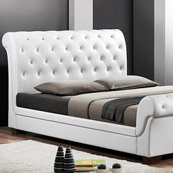 Baxton Studio - White Leighlin Modern Sleigh Upholstered Queen Bed Frame - This carefully-crafted modern bed adds a delightfully elegant element to any bedroom. Boasting traditional button-tufting and a sleigh bed design, the upholstered headboard and sturdy wooden frame create the perfect contemporary sanctuary after a long day. The included wooden slats eliminate the need for a box spring for this mod piece!   64.17'' W x 44.09'' H x 92.52'' D Wood / foam / faux leather Wipe clean Assembly required Imported