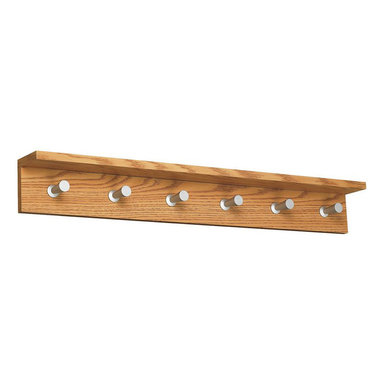 Safco - Safco Contempo Wood 6 Hook Wall Coat Rack in Medium Oak - Safco - Coat Racks - 4222MO - An updated design that adds style and functionality to your office or reception area. This wood-based coat rack includes an integrated shelf to hold your personal items (compact umbrella sunglass cell phone and more). The satin aluminum hooks are conical shaped to protect your garments yet offer a distinctive touch.