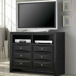 Coaster - Briana Media Chest - Contemporary style. Six spacious storage drawers. Two open compartments. Smooth tops with straight edges. Clean lines and chamfered trim. Chambered drawer fronts and block feet. Brushed chrome metal knobs. Made from wood and veneers. Glossy Black finish. 46.5 in. W x 16.5 in. D x 36 in. H. WarrantyThis stunning contemporary media chest will add great style and functionality to your master bedroom. Add this sophisticated television console to your bedroom for a space where you can really sit back and relax. The Briana collection is a great option if you are looking for Contemporary furniture in the area.