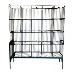 Used 1950s Steel Laundry Storage Rack - Significant storage for your home, office, cottage and beyond with this vintage steel stand of basketry. This piece hails from an east coast commercial laundry facility, circa 1950s. It can be dismantled for transport. Interested in more than one? We have two available. Please contact support to purchase the lot.