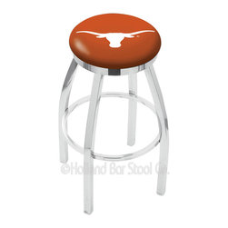 """Holland Bar Stool - Holland Bar Stool L8C2C - Chrome Texas Longhorns Swivel Bar Stool - L8C2C - Chrome Texas Longhorns Swivel Bar Stool w/ Accent Ring belongs to College Collection by Holland Bar Stool Made for the ultimate sports fan, impress your buddies with this knockout from Holland Bar Stool. This contemporary L8C2C logo stool has a single-ring chrome base with a 2.5"""" cushion and a chrome accent ring that helps the seat to """"pop-out"""" at glance. Holland Bar Stool uses a detailed screen print process that applies specially formulated epoxy-vinyl ink in numerous stages to produce a sharp, crisp, clear image of your desired logo. You can't find a higher quality logo stool on the market. The plating grade steel used to build the frame is commercial quality, so it will withstand the abuse of the rowdiest of friends for years to come. The structure is triple chrome plated to ensure a rich, sleek, long lasting finish. Construction of this framework is built tough, utilizing solid mig welds. If you're going to finish your bar or game room, do it right- with a Holland Bar Stool. Barstool (1)"""