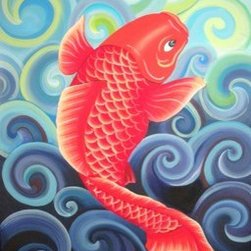 Coy (Koi) (Original) by Jamie Lynn Moore - This painting captures the simple beauty and elegance of one of nature's most reproduced marine creatures in contemporary art, the coy fish. Often seen as a symbol of aspiration and advancement, this painting expresses strength through perseverance in adversity and the determination to overcome obstacles. It represents achieving one's goals and moving forward regardless of one's circumstances. Your past does not decide your future, it merely determines where you start.- Anonymous