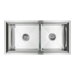 "AKDY - AKDY 34"" AK-ZB8644PF Stainless Steel Under Mount Kitchen Sink - AKDY 34"" under mount 16 gauge high quality stainless steel hand made kitchen sink w/ heavy duty sound deadening pads; double bowl"