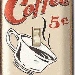 Coffee Light Switch Plate Cover - Save a cup for me! This plate cover has its own bottomless cup. Perfect for a kitchen or bar, this vintage-style piece is good to the last flip.