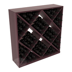 Wine Racks America - Solid Diamond Storage Cube in Redwood, Burgundy + Satin Finish - Elegant diamond bin style bottle openings make for simple loading of your favorite wines. This solid wooden wine cube is a perfect alternative to column-style racking kits. Double your storage capacity with back-to-back units without requiring more access area. We build this rack to our industry leading standards and your satisfaction is guaranteed.