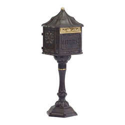 Amco Colonial Locking Mailbox Package (Mailbox and Post) - This locking mailbox is manufactured by Amco, and shown in desert bronze.  It is available in several other finishes, and retails for $235.00 with free shipping at http://www.mailboxixchange.com