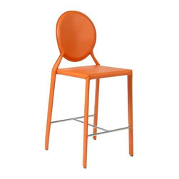 Eurostyle - Eurostyle Isabella-C Leather Counter Chair w/ Steel Frame in Orange [Set of 2] - Leather Counter Chair w/ Steel Frame in Orange belongs to Isabella-C Collection by Eurostyle Leather. Leather. And more leather. There's nothing like the look and feel of the real thing and the Isabella seat, back, and legs are all dressed up in leather. You just can't touch this design anywhere. Oh, go ahead��_��__ feels great. Counter Chair (2)
