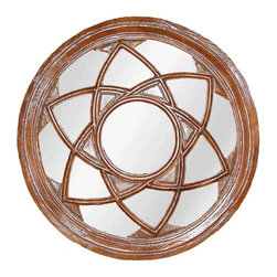 Hickory Manor House - Star Circle Mirror in Walnut Finish - Vintage original. Custom made by artisans unfortunately no returns allowed. Enhance your decor with this graceful mirror. Made in the USA. Made of pecan shell resin. 24.25 in. Dia. (14 lbs.)