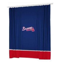 Sports Coverage - MLB Atlanta Braves Sidelines Shower Curtain - Spruce up your Bathroom and show your MLB spirit with this Atlanta Braves Sidelines Shower Curtain from Sports Coverage! Featuring 100% Polyester Jersey with screenprinted logo. It measures 72 x 72.