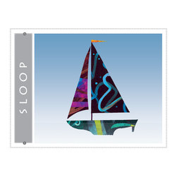 Sloop sailboat giclee art print for home, office, childrens or nursery decor - Sloop Sailboat giclee art print. Nautical colorful sail boat art decor for beach home, blue wall art print from colorful painted paper collage artwork gradient blue sky background for home, office, bueiness childrens room or nursery decor. Great gift for sailors!