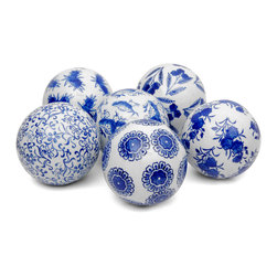 """Oriental Furniture - 4"""" Blue and White Decorative Porcelain Ball Set - Traditional oriental style ball curios finished with elegant, authentic reproductions of original Ming era dynastic art motifs. Lovely home decor accents add interest to table top centerpieces, bookcase displays, and floral arrangements. Woven rattan display basket is not included."""