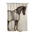 """Thomas Paul - Thoroughbred Horse Shower Curtain - The hand sewn Thomas Paul Thoroughbred Horse shower curtain features hand screened prints on 100% cotton canvas.  The shower curtain features a beautiful, brown horse complete with saddle. Historically, horses have represented freedom. The curtain measures 72"""" x 72"""". The bold print adds a pop of character to your bathroom.   About the Artist: After graduating from NYC's famed FIT, Thomas Paul started his career as a colorist and designer at a silk mill. Eventually, he leveraged his knowledge of silk materials & print to launch a neckwear line of his own. Over time, Paul loved the idea of applying menswear print and design into a collection of home decor, which is what we see in his goods today. His background has embedded in him a passion for quality production techniques. Even as his brand grows, he continues to ensure all of his prints are hand screened - a slow, detailed process that results in each piece being a unique piece of artwork. Paul also pushes the envelope in terms of bold prints and hand ground materials.       """"My vision for the thomaspaul brand has always been about combining classic design motifs from different periods in textile design. Incorporating anything from an 18th century Damask pattern to a camouflage print. The unifying thread between so many different styles is to change the designs so they are updated for today. For me this means changing the scale, so they are always bold, and reducing down the colors and details, so most designs are reduced to two or three colors and become very flat, bold prints. I am always looking to vintage fabrics and motifs for inspiration and new ideas, but always try to update these to look good for today."""" - Thomas Paul   Product Details:"""