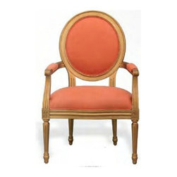 Port 68 - Port 68 Avery Aged Gold Chairs-Tangerine Linen - Finish: Aged GoldFabric: Tangerine LinenComes in pairs.Please call for custom fabric and finish options