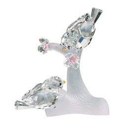 """Inviting Home - Crystal Love Birds - crystal love birds; 2.6"""" x 3""""H; The crystal love birds figurine is made of the finest Bohemian crystal from the Czech Republic. The lovebirds and flowers are made of cut crystal and sit upon a frosted crystal branch. This sweet crystal figurine is manufactured by Preciosa a world-class producer of fine crystal and comes with a certificate of authenticity. Preciosa hereby states that this product is not suitable for children under 13 years of age. Preciosa Crystal Figurines embody an outstanding example of skillful craftsmanship cut by machine with meticulous accuracy and the expertise of artisans who pay attention to precise details while putting these pieces together by hand. These pieces are crafted to provide a joy to those who view them while showing off its luster and sensational beauty. Each figurine is accompanied with a Certificate of Authenticity that certifies the genuineness of the Bohemian crystal of which it is made. The crystal love birds are a great way to give your loved one a trinket to remind them of how much you love them. These would also make a lovely anniversary gift or a wedding gift to newlywed lovebirds. usually ships within 2 - 3 weeks"""