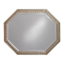 "Lamps Plus - Traditional Crete Antique Silver Octagonal 42"" Wide Wall Mirror - Trendy and stylish with an innovative design this octagonal wall mirror will enhance your home decor. Features an antique silver frame in a octagonal shape. Also has beveled glass edges for an elegant finishing touch. 33"" high. 42"" wide. Mirror glass is 27"" wide and 36"" high.  Antique silver finish frame.   Octagonal shape.  Beveled glass.  33"" high.   42"" wide.  Mirror glass is 27"" wide and 36"" high."