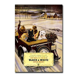 "Trademark Global - ""Black & White Whisky"" - Giclee Repoduction C - Gallery wrapped Giclee on canvas art. Ready to hang. Traditional style. Subject: Vintage. Format: Vertical. Size: Medium. Canvas material. 18 in. W x 24 in. H (4 lbs.)Giclee is an advanced printmaking process for creating high quality fine art reproductions. The attainable excellence that Giclee printmaking affords makes the reproduction virtually indistinguishable from the original artwork. The result is wide acceptance of Giclees by galleries, museums and private collectors."