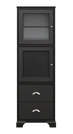 Howard Miller Custom - Lily Cabinet w 2 Drawers in Antique Black - This cabinet finished in Antique Black on select Hardwoods and Veneers, with Nickel hardware. 1 door with plain Glass and 1 door with inset panel. 2 flat panel drawers. 2 adjustable interior shelves. Flat profile top and cove profile base. Hardware: Nickel knobs on doors and cup pulls on drawers. Features soft-close doors, metal drawer glides, and metal shelf clips. 25 in. W x 16 in. D x 77 1/4 in. H