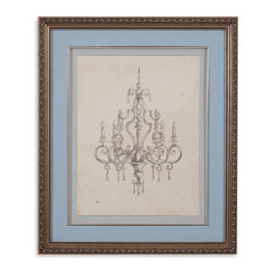 Bassett Mirror - Bassett Mirror Framed Under Glass Art, Classical Chandelier III - Bring a sense of delicacy to your home with Part III of the Classical Chandelier series. Backed with blue matting and set inside a silver leaf frame with black accents, this distressed print has an upscale, vintage feel. Hang it alonside its sister pieces in the Classical Chandelier series for a cohesive look.