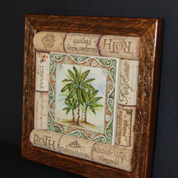 Trivets - Handmade from wine corks, wood and tile, this trivet features a palm tree design at the center. The trivet was crafted from carefully matched wine corks ensuring a level heat proof surface that can accommodate items of any size. The underside is fitted with cork feet to ensure the trivet sits securely and evenly on any surface.