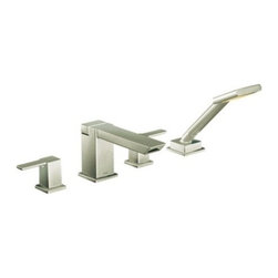 """Moen - Moen TS904BN Brushed Nickel 90 Degree Double Handle Roman Tub Filler - Double Handle Roman Tub Filler Faucet with Personal Hand Shower less Valve from the 90 Degree Collection Moen TS904 With its ultra–contemporary styling, 90 Degree brings a clean, minimalist aesthetic to the home. Product Features:  Two-handle lever design for ease of use One-function hand shower M-PACT common valve system Conventional deck mount design ADA compliant Limited lifetime warranty  Product Specifications:  Spout height: 4.25"""" Type of handles: lever handles Faucet Centers: 10 Faucet Holes: 4 Flow Rate(GPM): 1.75 Installation Type: Deck Mounted Spout Reach: 7.625  Valve Options, Choose One at Checkout 9792: Roman tub valve with built in hand shower diverter.  M-Pact common valve system Dura-Grip mounting system No cut spout shank Fits 1/8"""" to 3-3/8"""" deck thickness 1/2"""" CC connections Test plug included  9793:Rough in two handle Roman tub valve with built in hand shower diverter  M-Pact common valve system Dura-Grip mounting system No cut spout shank Fits 1/8"""" to 2-3/4"""" deck thickness 1/2"""" PEX connections with 2 CPVC adapters Test plug included  9796: Roman tub with shower diverter 10"""" center 1/2"""" CC connection 9797: Change to Roman tub with shower diverter 10"""" centers 1/2"""" PEX with 1/2"""" CPVC adapters"""