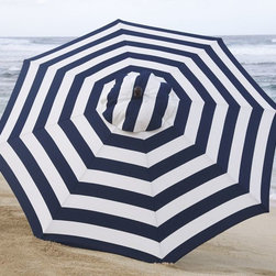 Round Market Umbrella, Ink Blue Stripe - Classic navy stripes lend a nautical air, so even if you're not at the beach, you can still have the look!