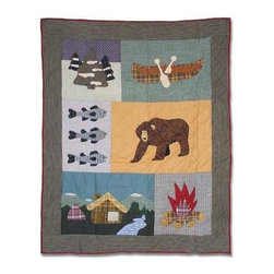 Patch Magic - Cabin Bear Crib Quilt - 36 in. W x 46 in. L. Handmade, hand quilted. 100% CottonMachine washable, but for best care hand wash in cold water. Do not machine dry. Do not dry clean. Line or flat dry only.
