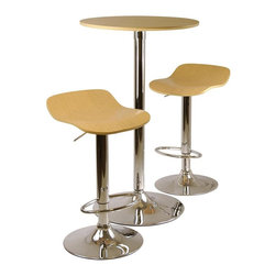 Winsome Wood - Kallie 3 Pc Pub Table & Stools Set in Natural - Bring a fresh, modern voice to your entertaining area or casual dining space with this three-piece pub set, highlighted by a round table with an MDF and veneer top and metal base in gleaming chrome colored finish. The table is paired with two intriguing stools with shaped veneer seats and an adjustable height feature for added comfort. Set includes 1 round table and 2 air lift swivel adjustable stools. Made of MDF, Veneer and metal base. Available in different finishes. Assembly required. Table: 23.66 in. Dia. x 39.76 in. H. Stool: 16.73 in. L x 15.2 in. W x 33.61 in. H