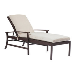 Frontgate - Charleston Outdoor Chaise Lounge with Cushion, Patio Furniture - Durable wrought aluminum frames. Offered in Mahogany or Oyster ultra UV resistant finish. Cushions feature exclusive Sunbrella® fabrics, the finest solution-dyed, all-weather material available. Inspired by the one of America's oldest port cities, our wrought aluminum Charleston Chaise Lounge brings relaxing modern updates to classic coastal design. The chair blends wide-plank coastal furniture design with updated proportions and technological sensibility.  .  . Cushions feature exclusive Sunbrella fabrics, the finest solution-dyed, all-weather material available . Note: Due to the custom-made nature of the cushions, any fabric changes or cancellations made to the Charleston Collection by Summer Classics must be made within 24 hours of ordering.