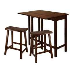 "Winsome Wood - Winsome Wood Lynnwood 3 Piece High Drop Leaf Table w/ 24 Inch Saddle Seat Stool - 3 Piece High Drop Leaf Table w/ 24 Inch Saddle Seat Stool belongs to Lynnwood Collection by Winsome Wood The set comes with a high table and two saddle seat stools. The table is versatile that is space saving and functional. A leaf is folded down for space saving and when in use lift up the leaf for an extension of top surface. Top table area when leaf is up 39.37""W x 30""D x 35.43""H. Table when leaf is folded 39.37""W x 20.70""D x 35.43""H. Drop leaf 39.37""W x 10.31""D. Saddle Seat Counter Stool is 24"" Seat height. Constructed in solid wood in warm Antique Walnut Finish. Ready to Assemble. Pub Table (1), Stool (2)"