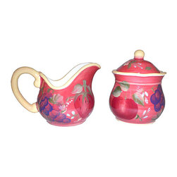 None - Sandy's Orchard Sugar & Creamer - This Sandy's Orchard elegant pattern sugar and creamer features delicious fruit colors Soap dispenser gives Mediterranean flair to the kitchenCeramic kitchen decor is individually handcrafted and hand-painted
