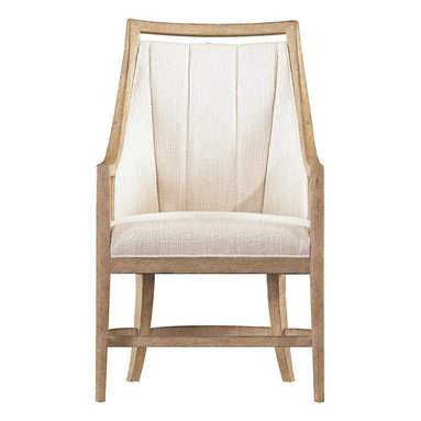 Stanley Furniture - Coastal Living Resort By the Bay Dining Arm Chair - Be the host and hostess with the  mostest  welcoming friends and family to the dinner table with By the Bay Dining Arm Chairs at either end. Each chair has a wood frame with Coastal Living Resort s exclusive Weathered Pier finish. An A-frame stretcher adds strength to the legs. Chair back and seat are upholstered in textured fabric. The chair back has sewn channels and to give the chair a unique twist, even the outside of the back is upholstered in fabric with a raised pattern that looks like coral reaching for the sun. This Dining Arm Chair provides comfortable seating for a welcome feel and time to gather around the dining table and enjoy the company of others with good food and wine. The incorporation of natural tones and elements gives your dining area an earthy welcome feel.