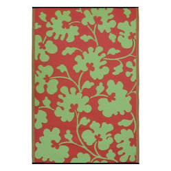 Indoor/Outdoor Oslo Rug, Scarlet Red & Moss Green, 6x9