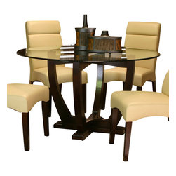 Cramco - Cramco Adele Round Glass Top Dining Table with Espresso Wood Base - Features: