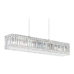 "Schonbek - Contemporary Schonbek Quantum 29 1/2"" Wide Swarovski Crystal Chandelier - Contemporary with its simplicity in materials this breathtaking chandelier will transform any decor. Refracted light bounces everywhere after striking this chandelier's jewelry-like configuration of Swarovski Spectra crystals. Silver finish. Swarovski Strass crystal. Takes ten 25 watt bulbs (not included). 29 1/2"" wide. 5"" high. 5 1/2"" deep. Includes 12 feet of chain and lead wire. Hang weight of 15.5 lbs.  Silver Teak finish.   Swarovski Spectra crystal.   Takes ten 25 watt bulbs (not included).   29 1/2"" wide.   5"" high.   5 1/2"" deep.  Includes 12 feet of chain and lead wire.   Hang weight of 15.5 lbs."