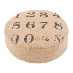 """Jaipur Rugs - Taupe/Black Handmade 100% Jute Pouf (18""""x18""""x6"""") - Rustique pillows and poufs are burlap printed with coastal accents."""