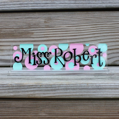 Say It Sassy - Mint & Light Pink Polka Dot Personalized Desk Nameplate - Your kids' teachers will love having a personalized sign on their desk, gifted from one of their students. It also helps little ones learn how to spell a new name at the beginning of the year.   8'' W x 2'' H x 2.5'' D Acrylic Imported