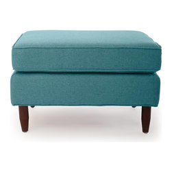 Kardiel - Kardiel Eleanor Mid-Century Modern Classic Ottoman, Dutch Blue Houndstooth Twill - Sleek rectangular shapes are represented in the design of both the seat and frame. Perhaps not so common with midcentury modern pieces, Eleanor successfully combines both comfortable seating with exceptional aesthetics. For ease of maintenance, button tufting is not present on the seat cushion. A gently cushioned frame and matching piping at the seams accentuate the minimalist lines. The wooden aspect of the legs creates a sense of grounding. The stiletto design of the legs lifts Eleanor from the floor providing the spacious midcentury modern feel.